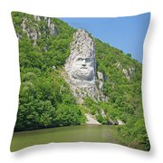 King Decebal, Rock Sculpture Throw Pillow