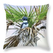 King Fisher Palm Throw Pillow
