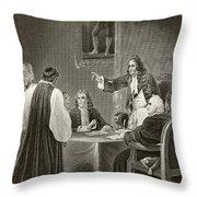 King James II Of England Facing Bishops Throw Pillow