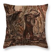 King Kong - Kong Battles A Serpentine Dinosaur Throw Pillow