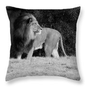 King Of Beasts Black And White Throw Pillow