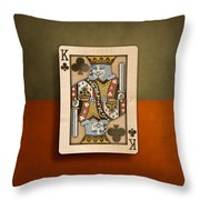 King Of Clubs In Wood Throw Pillow