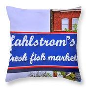 King Of Fish Fish Market  Throw Pillow