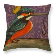 King Of Kingfishers Throw Pillow