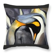 King Penquins Throw Pillow