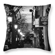 King Street At Night - Old Town Alexandria Throw Pillow