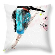 Kingfisher In Late Spring Snow Throw Pillow