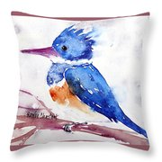 Kingfisher On A Stick Throw Pillow