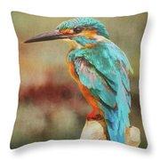 Kingfisher's Perch Throw Pillow