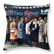 Kings Highway Subway Station Throw Pillow