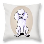 Kiniart White Poodle Throw Pillow