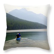 Kintla Lake Paddlers Throw Pillow