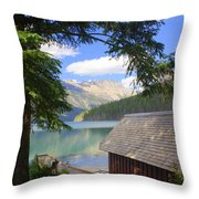 Kintla Lake Ranger Station Glacier National Park Throw Pillow