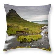 Kirkjufellsfoss On Snaefellsnes Peninsula Iceland Throw Pillow