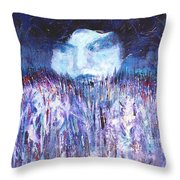 Kiss Of The Silver Moon Throw Pillow