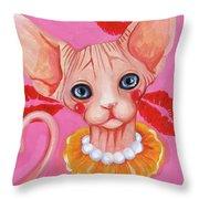 Kiss Sphynx Throw Pillow