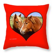 Kissin' Cousins Throw Pillow by Clif Jackson