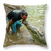 Kissing A Crocodile Throw Pillow