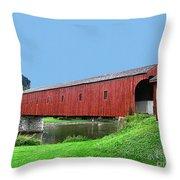 Kissing Bridge Of West Montrose Throw Pillow