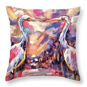Kissing Egrets Never Forget Throw Pillow