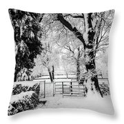 Kissing Gate In The Snow Throw Pillow