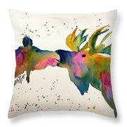 Kissing Moose Throw Pillow