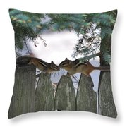 Kissing On A Fence Throw Pillow