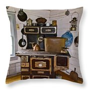 Kitchen Stove In Old Victoria-michigan  Throw Pillow