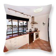 Kitchen With A River View Throw Pillow