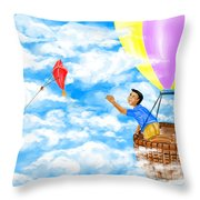 Kite And Hot-air Balloon Throw Pillow