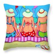 Kite Flying 101 - Girlfriends On Beach Throw Pillow