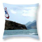 Kite Surfer St Kitts Throw Pillow