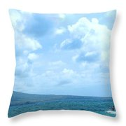 Kite Surfing With A Nevis Background Throw Pillow