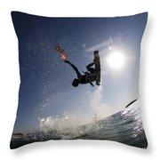 Kitesurfing In The Mediterranean Sea Throw Pillow by Hagai Nativ