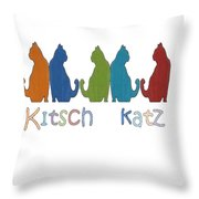 Kitsch Cats Silhouette Cat Collage Pattern Isolated Throw Pillow