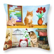 Kitten Hideout Throw Pillow