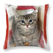 Kitten Playing Santa  Throw Pillow