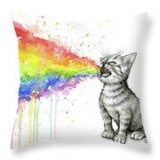 Kitten Tastes The Rainbow Throw Pillow