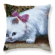 Kitten With Snail And Ball Throw Pillow