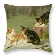 Kittens Playing Throw Pillow