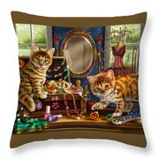 Kittens With Jewelry Box Throw Pillow