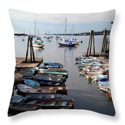 Kittery Point Fishing Boats Throw Pillow