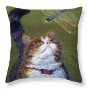 Kitty And The Dragonfly Close-up Throw Pillow
