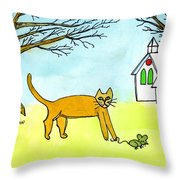 Kitty And The Mouse Throw Pillow