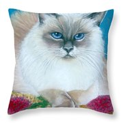 Kitty Coiffure Throw Pillow