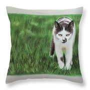Kitty Grass Throw Pillow