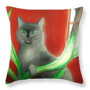 Kitty In The Plants Throw Pillow