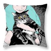 Kitty Loves Me Throw Pillow