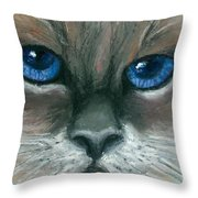 Kitty Starry Eyes Throw Pillow
