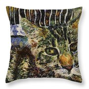 Kitty Vangoghed Throw Pillow